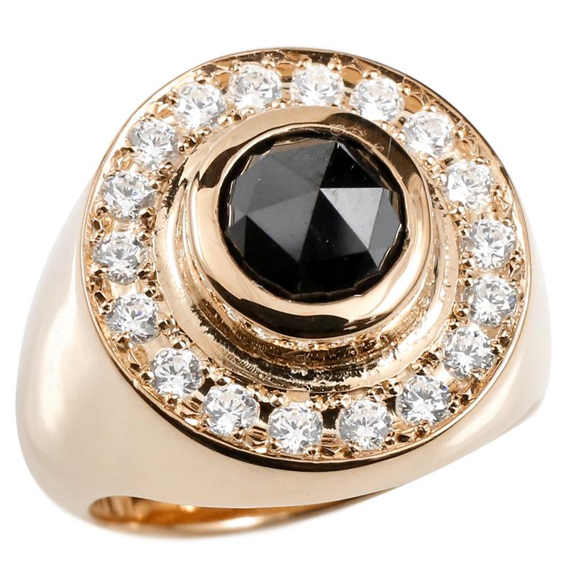 メンズ リング ブラックダイヤモンド キュービックジルコニア ピンクゴールドk10 印台 幅広 指輪 リング ダイヤ 一粒 大粒 10金 ピンキーリング 男性用
