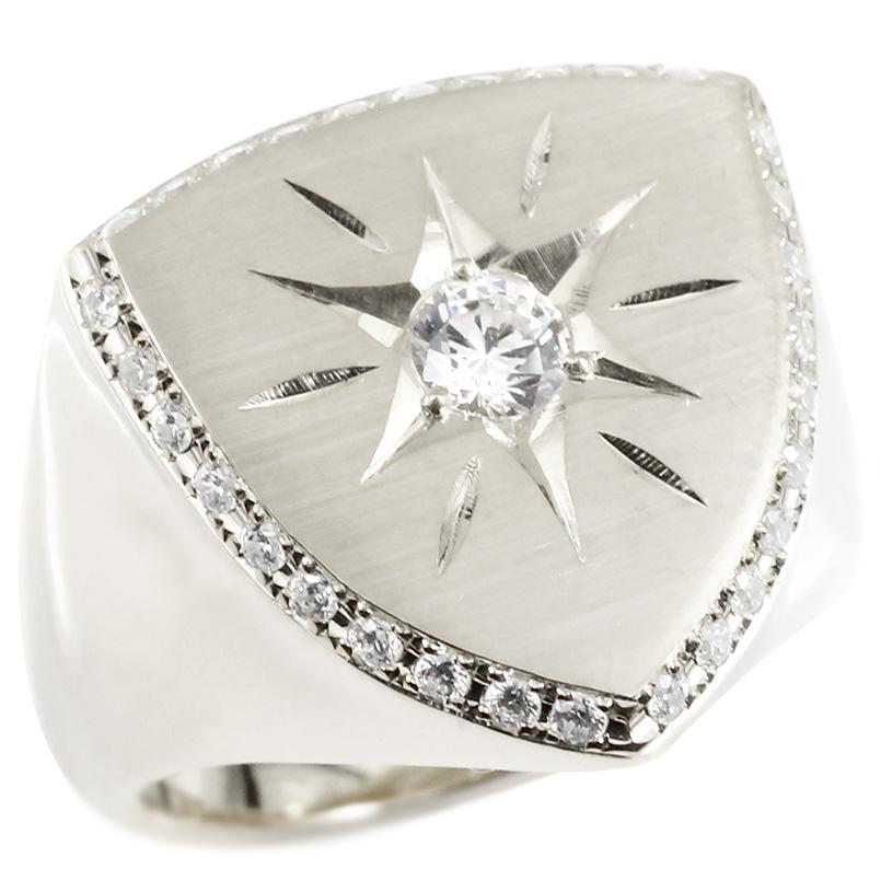 メンズ プラチナリング ダイヤモンド 印台 幅広 指輪 つや消し サテン仕上げ リング ダイヤ 一粒 大粒 後光留め ロータリー型 pt900 ピンキーリング