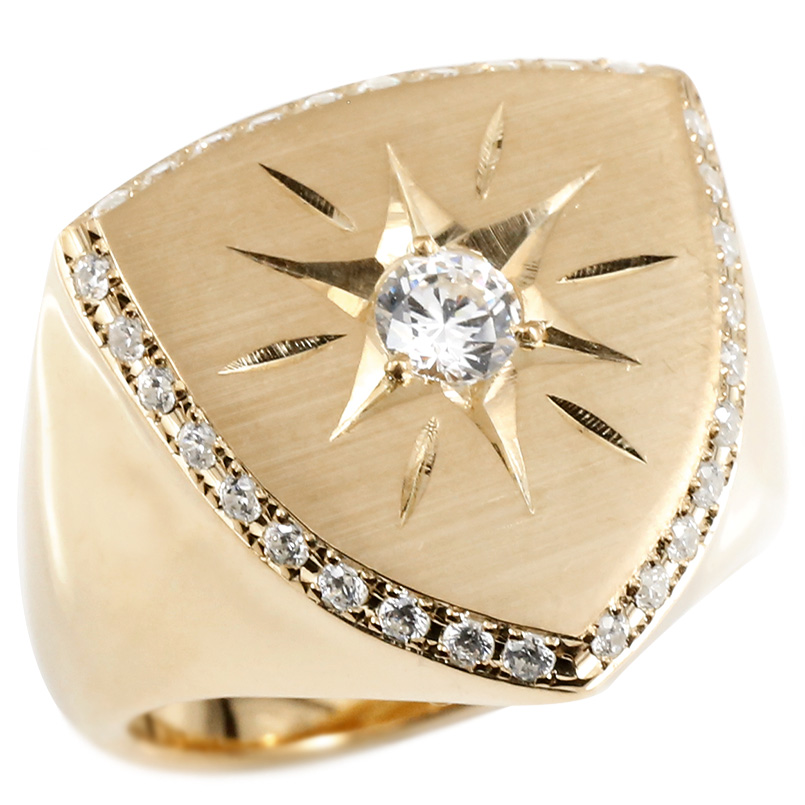メンズ リング ダイヤモンド ピンクゴールドk18 印台 幅広 指輪 つや消し サテン仕上げ リング ダイヤ 一粒 大粒 ロータリー型 18金 ピンキーリング