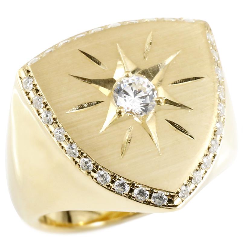 メンズ リング ダイヤモンド イエローゴールドk10 印台 幅広 指輪 つや消し サテン仕上げ リング ダイヤ 一粒 大粒 ロータリー型 10金 ピンキーリング