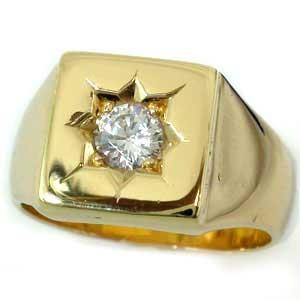 メンズリング 人気 リングダイヤモンド イエローゴールドk18 0.50ct SIクラス 鑑定書付 18金ピンキーリング ダイヤ ストレート 男性用 宝石 送料無料
