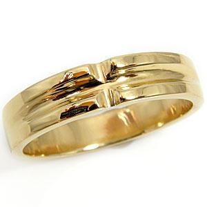 メンズリング 人気 クロス イエローゴールドk18 指輪 18金ピンキーリング ストレート 男性用 父の日