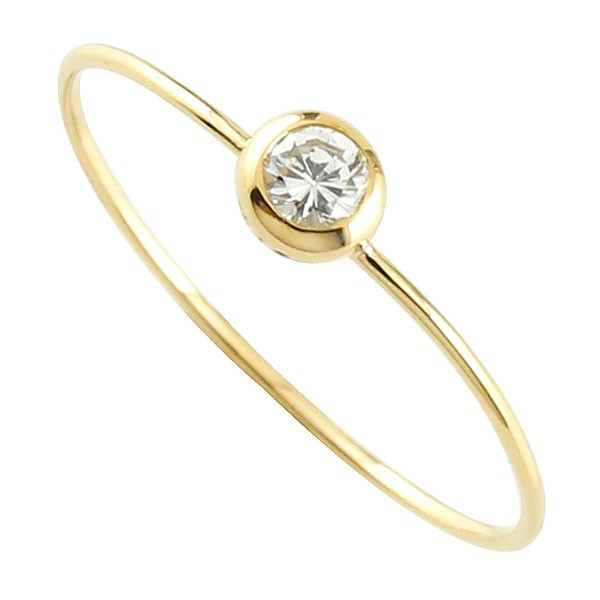 メンズリング 人気 ジュエリー シンプルリング イエローゴールドk18 一粒ダイヤ0.05ct 指輪 18金ピンキーリング ストレート 男性用 送料無料