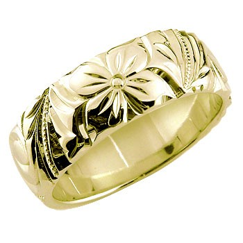 ハワイアンジュエリー メンズ リング 指輪 幅広 イエローゴールドk18 ハワイアンリング 地金リング 18金 k18yg ストレート 送料無料