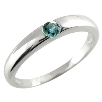メンズリング 人気 指輪 ブルーダイヤモンド リング 一粒ダイヤ 0.10ct 指輪 ホワイトゴールドk18 18金ピンキーリング ストレート 宝石 送料無料