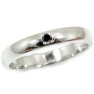 メンズリング 人気 指輪 ブラックダイヤモンド リング 一粒ダイヤ 0.02ct ホワイトゴールドk18 18金ピンキーリング ストレート 男性用 宝石 送料無料
