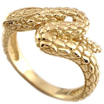 メンズリング 人気 スネークリング 蛇 指輪 イエローゴールドk18 18金ピンキーリング 男性用 送料無料