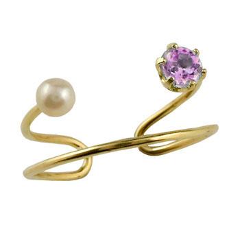 足の指輪 素足のおシャレにトゥリング メンズリング トゥリング ピンクサファイア ベビーパール イエローゴールドk18 指輪 ピンキーリング 2連 18金 ストレート 宝石 送料無料