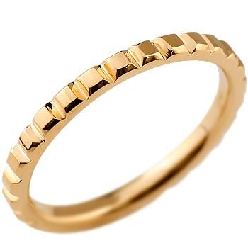 メンズ リング 指輪 ピンクゴールドk18 ピンキーリング 地金リング カットリング シンプル 宝石なし 18金ストレート 男性用 送料無料