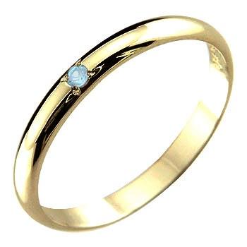 メンズ ピンキーリング ブルートパーズ リング 指輪 イエローゴールドk18 11月誕生石18金 ストレート 2.3 男性用 宝石 送料無料