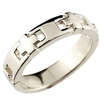 メンズ クロス シルバーリング 指輪 幅広 ピンキーリング 地金リング 十字架 つや消しストレート 男性用 送料無料