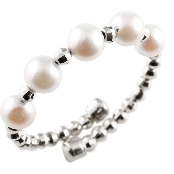 メンズ フリーサイズリング ホワイトゴールドk18 パール 指輪 形状記憶 6月誕生石 真珠 フォーマル 送料無料