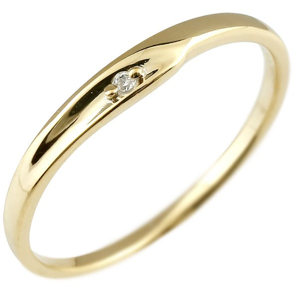 ダイヤモンド ピンキーリング イエローゴールドk10 一粒 10金 極細 華奢 指輪 男性用 送料無料 父の日