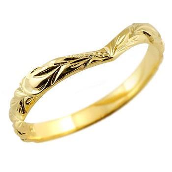 ハワイアンジュエリー メンズ イエローゴールドk18リング 指輪 ハワイアンリング V字 k18 男性用 送料無料