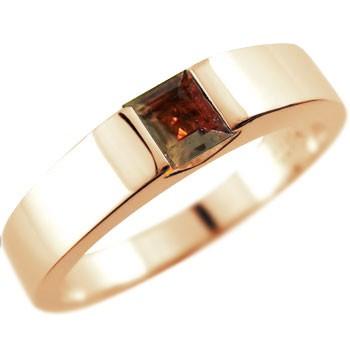 メンズ ガーネット リング ピンクゴールドk18 指輪 ピンキーリング 1月誕生石 ストレート スクエア 18金 男性用 送料無料