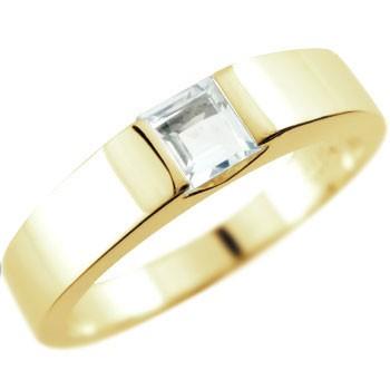 メンズ アクアマリン リング イエローゴールドk18 指輪 ピンキーリング 3月誕生石 ストレート スクエア 18金 男性用 送料無料