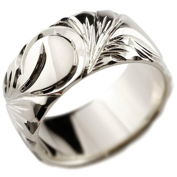 ハワイアンジュエリー メンズ ホワイトゴールドリング 幅広 指輪 ハワイアンリング 地金リング マイレ スクロール ストレート 男性用 送料無料 父の日