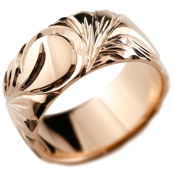 ハワイアンジュエリー メンズ ピンクゴールドリング 幅広 指輪 ハワイアンリング 地金リング マイレ スクロール ストレート 男性用 送料無料