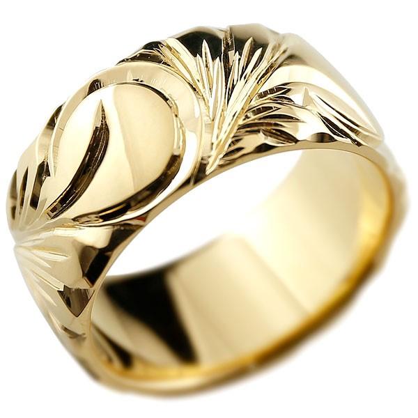 ハワイアンジュエリー メンズ イエローゴールドリング 幅広 指輪 ハワイアンリング 地金リング マイレ スクロール ストレート 男性用 送料無料