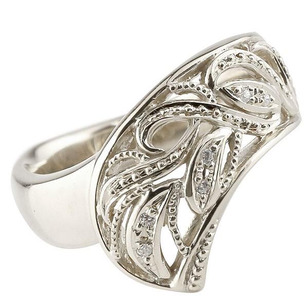 メンズ リング ダイヤモンド 指輪 透かし 幅広リング アラベスク シルバー ミル打ち sv925 宝石 送料無料