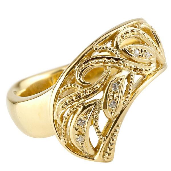 メンズ リング ダイヤモンド イエローゴールドk18 指輪 透かし 幅広リング アラベスク ミル打ち 18金 宝石 送料無料