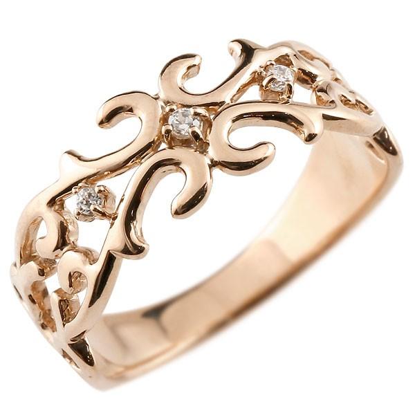 メンズ ピンキーリング 指輪 ダイヤモンド 透かし ピンクゴールドk18 アラベスク ダイヤ ストレート 18金 宝石 送料無料