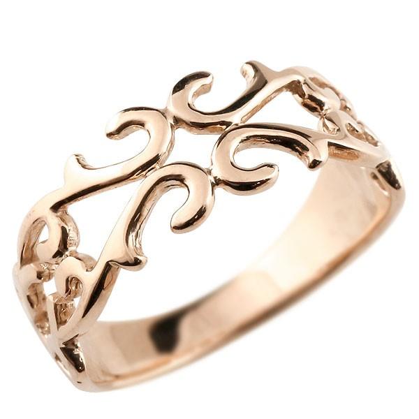 メンズ ピンキーリング 指輪 地金リング 透かし ピンクゴールドk10 アラベスク ストレート 宝石無し 10金 宝石 送料無料