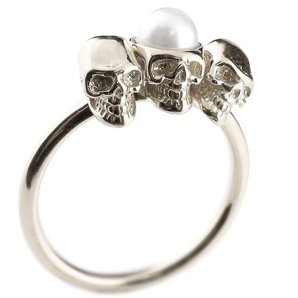 メンズ プラチナリング ドクロ パール 指輪 pt900 髑髏 スカル 真珠 フォーマル 送料無料