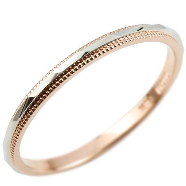 メンズ プラチナリング エンゲージリング 婚約指輪 指輪 ミル打ち コンビリング ピンクゴールドk18 ミル打ち pt900 地金 ピンキーリング リング