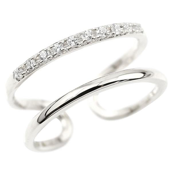 メンズ 指輪 婚約指輪 ピンキーリング ダイヤモンド ホワイトゴールドk10 エンゲージリング 2連リング フリーサイズリング フリスタ 10金 送料無料 父の日