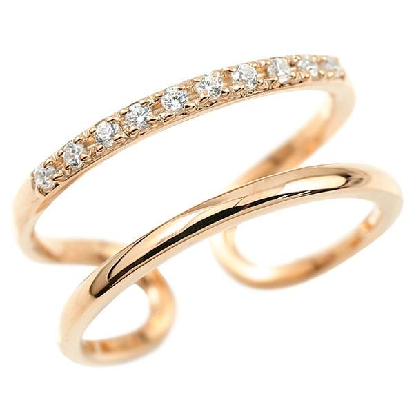 メンズ 指輪 婚約指輪 ピンキーリング ピンクゴールドk10 キュービックジルコニア エンゲージリング 2連リング フリーサイズリング フリスタ 10金 父の日