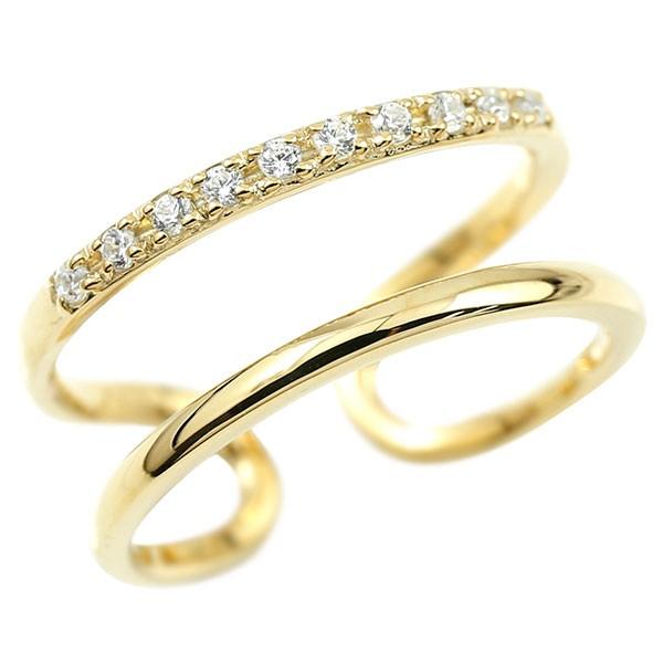 メンズ 指輪 婚約指輪 ピンキーリング ダイヤモンド イエローゴールドk18 エンゲージリング 2連リング フリーサイズリング フリスタ 18金 送料無料