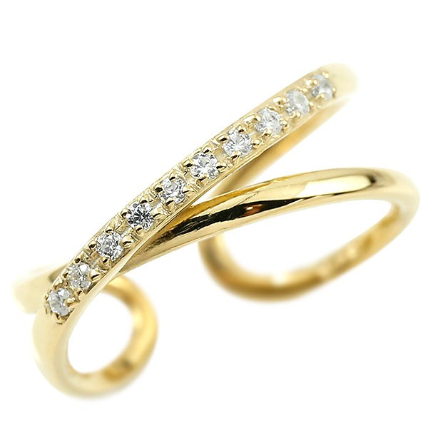 メンズ 指輪 婚約指輪 ピンキーリング ダイヤモンド イエローゴールドk10 エンゲージリング 2連リング フリーサイズリング フリスタ 10金 送料無料