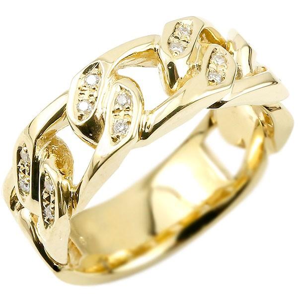 メンズリング 喜平用 メンズ 喜平リング ダイヤモンド イエローゴールドk18 リング 指輪 幅広 鎖 ダイヤ 18金 男性用 送料無料