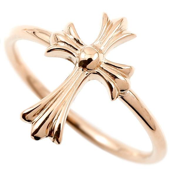 メンズ リング クロス ピンクゴールドk10 指輪 十字架 地金 ピンキーリング 10金 男性用 人気 送料無料
