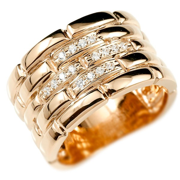 メンズ ダイヤモンドリング ピンクゴールドk18 メタルバンド 時計 指輪 リング ダイヤ 18金 男性用 幅広 人気 ストレート 送料無料