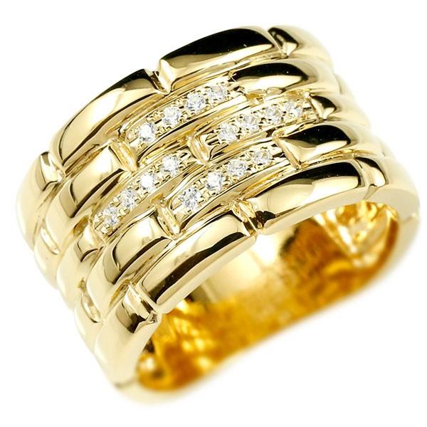メンズ ダイヤモンドリング イエローゴールドk18 メタルバンド 時計 指輪 リング ダイヤ 18金 男性用 幅広 人気 ストレート 送料無料