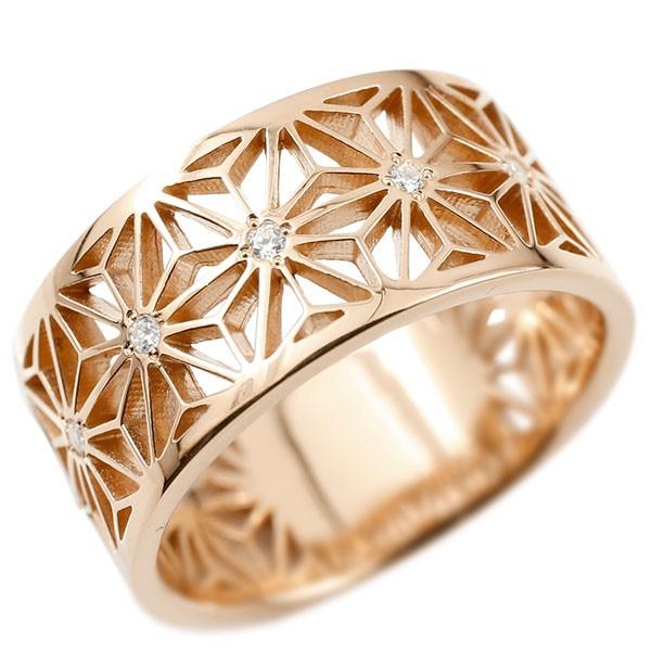 細部までこだわりを見せる熟練職人の逸品指輪 メンズ リング ピンクゴールドk10ダイヤモンド ダイヤ 幅広 麻の葉 模様 和柄 切子 和モダン 透かし 指輪 ストレート 10金 男性用 地金 コントラッド 東京
