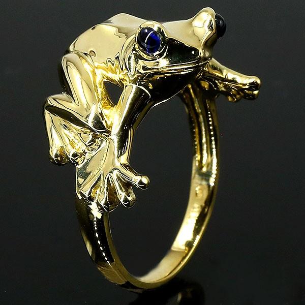 メンズ リング サファイア カエル イエローゴールドk18 指輪 18金 幅広 ピンキーリング 蛙 男性用 人気 送料無料
