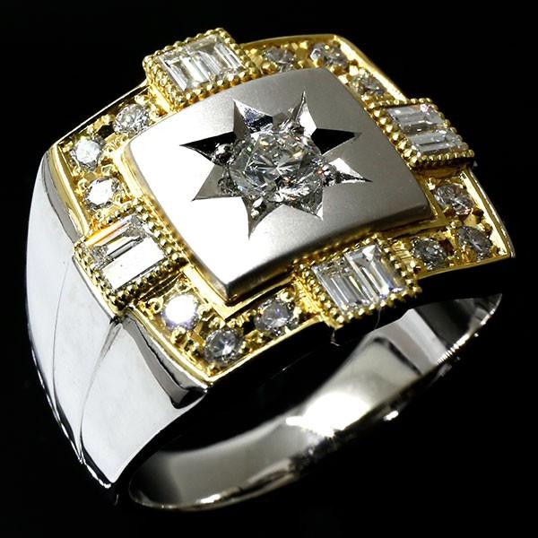 メンズ ダイヤモンドリング プラチナ イエローゴールドk18 指輪 ダイヤ 一粒 大粒 pt900 18金 幅広 コンビ ピンキーリング 男性用 人気 送料無料