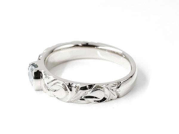 ハワイアンジュエリー メンズ リング アクアマリン ホワイトゴールドk10 指輪 幅広 一粒 大粒 ハワイアン マイレ スクロール 誕生石 10金 ピンキーリングCordBxeW