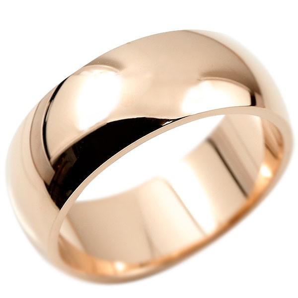 メンズ 指輪 鍛造 ピンクゴールドk18 幅広 リング 甲丸 たんぞう 地金 リング シンプル 宝石なし 男性用 送料無料