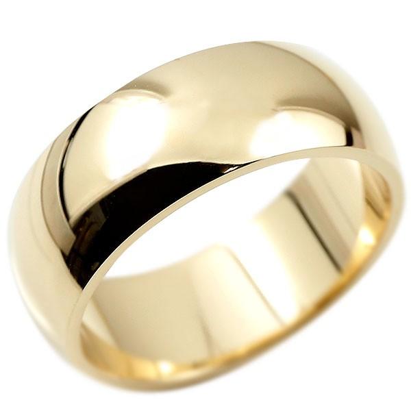 メンズ 指輪 鍛造 イエローゴールドk18 幅広 リング 甲丸 たんぞう 地金 リング シンプル 宝石なし 男性用 送料無料 父の日