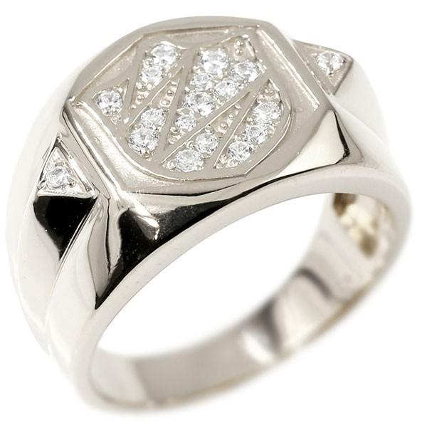 メンズ リング ダイヤモンド シールド シルバー 幅広 印台 指輪 リング ダイヤ ピンキーリング 盾 sv925 男性用 送料無料