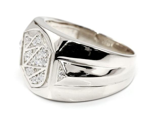 メンズ リング ダイヤモンド シールド ホワイトゴールドk10 幅広 印台 指輪 リング ダイヤ ピンキーリング 盾 10金 男性用 送料無料tQrxhsBdC