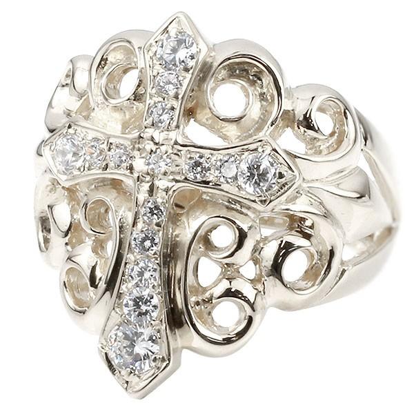 メンズ リング ダイヤモンド クロス シルバー 幅広 印台 指輪 リング ダイヤ ピンキーリング 十字架 sv925 男性用 送料無料 父の日
