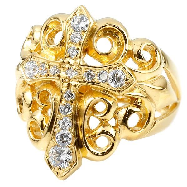 メンズ リング ダイヤモンド クロス イエローゴールドk18 幅広 印台 指輪 リング ダイヤ ピンキーリング 十字架 18金 男性用 送料無料
