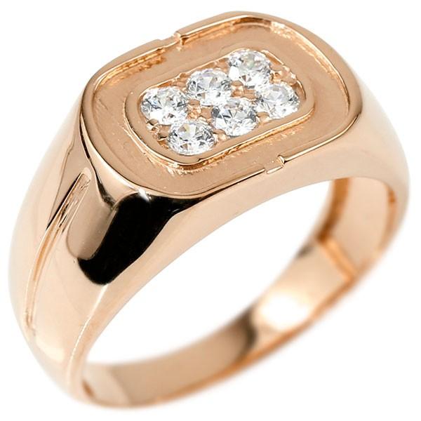 メンズ リング ダイヤモンド ピンクゴールドk18 幅広 印台 指輪 リング シンプル ダイヤ ピンキーリング 18金 男性用 送料無料