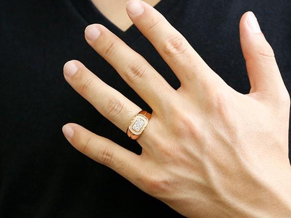 メンズ リング ダイヤモンド ピンクゴールドk10 幅広 印台 指輪 リング シンプル ダイヤ ピンキーリング 10金 男性用 送料無料 父の日bfgy76