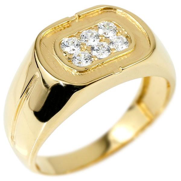 メンズ リング ダイヤモンド イエローゴールドk18 幅広 印台 指輪 リング シンプル ダイヤ ピンキーリング 18金 男性用 送料無料